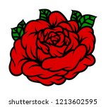 flower rose  red buds and green ... | Shutterstock .eps vector #1213602595