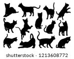 Stock vector a cat silhouettes pet animals graphics set 1213608772