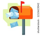 open mailbox with letters. flat ... | Shutterstock .eps vector #1213615042