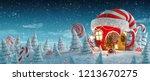 amazing fairy house in elfs hat ... | Shutterstock . vector #1213670275