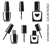black and white nail polish... | Shutterstock .eps vector #1213676362