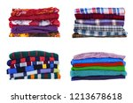 stack of multicolored clothes... | Shutterstock . vector #1213678618