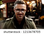 man portrait. outdoor cafe. man ... | Shutterstock . vector #1213678705