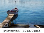 beautiful landscape with boat... | Shutterstock . vector #1213701865