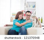 asian couple with cat   ... | Shutterstock . vector #121370548
