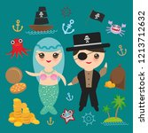 mermaid with pirate card banner ... | Shutterstock . vector #1213712632