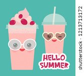 hello summer strawberry... | Shutterstock . vector #1213713172