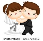 a couple dancing after they got ... | Shutterstock .eps vector #1213726312