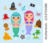 kawaii mermaid with blue pink... | Shutterstock . vector #1213731088