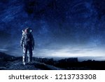 astronaut and his mission....   Shutterstock . vector #1213733308