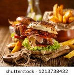 homemade burgers with grilled... | Shutterstock . vector #1213738432
