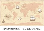 antique world map. vintage... | Shutterstock .eps vector #1213739782