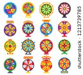 wheel of fortune. turning lucky ... | Shutterstock .eps vector #1213739785