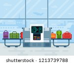 airport luggage scanner. police ... | Shutterstock .eps vector #1213739788