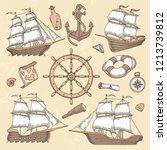 vintage marine ships. old... | Shutterstock .eps vector #1213739812