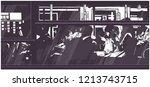 illustration of late night bus... | Shutterstock .eps vector #1213743715
