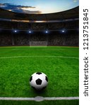 soccer ball on green stadium ... | Shutterstock . vector #1213751845