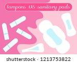tampon vs pads comparison.... | Shutterstock .eps vector #1213753822