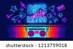80s  retro  future music party... | Shutterstock .eps vector #1213759018