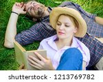 man and girl lay on grass... | Shutterstock . vector #1213769782