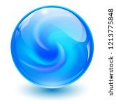 Blue Glass Sphere  3d Marble...