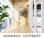 spacious and bright balcony ... | Shutterstock . vector #1213786372