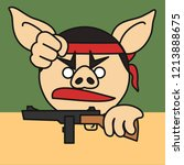 emoticon with pig rebel that is ... | Shutterstock .eps vector #1213888675