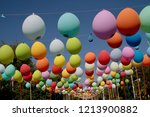 colored balloons hanging on a... | Shutterstock . vector #1213900882