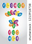 colorful uppercase flower font... | Shutterstock .eps vector #1213918738