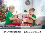 merry christmas and happy... | Shutterstock . vector #1213924135
