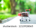 supermarket trolley with coins...   Shutterstock . vector #1213928065