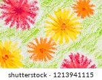 spring flowers crayon hand... | Shutterstock . vector #1213941115
