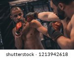 two men in boxing gloves and... | Shutterstock . vector #1213942618