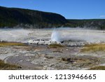 erupting cliff geyser  near... | Shutterstock . vector #1213946665
