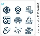 simple set of  9 outline icons... | Shutterstock .eps vector #1213948402