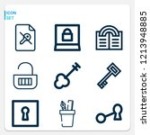 simple set of  9 outline icons... | Shutterstock .eps vector #1213948885