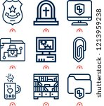 simple set of  9 outline icons... | Shutterstock .eps vector #1213959238