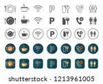 hotel icons pack vector   blue... | Shutterstock .eps vector #1213961005