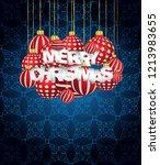 2019 merry christmas seasonal... | Shutterstock . vector #1213983655