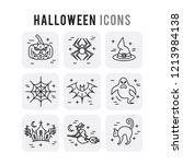halloween outline set icons...   Shutterstock .eps vector #1213984138