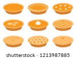 pumpkin pies set  vector ...   Shutterstock .eps vector #1213987885