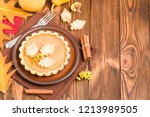 pumpkin pie with cinnamon and... | Shutterstock . vector #1213989505