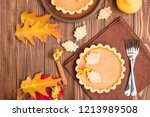 pumpkin pie with cinnamon and... | Shutterstock . vector #1213989508