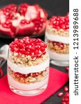 pomegranate parfait   sweet... | Shutterstock . vector #1213989688