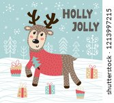 holly jolly christmas greeting... | Shutterstock .eps vector #1213997215