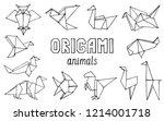 origami animals hand drawn... | Shutterstock .eps vector #1214001718