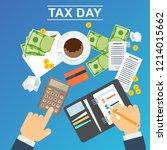 tax day concept. man calculates ...   Shutterstock .eps vector #1214015662
