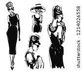 retro woman portrait sketch....   Shutterstock . vector #1214026558
