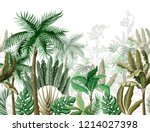 seamless border with tropical... | Shutterstock .eps vector #1214027398