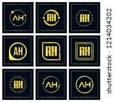 initial letter ah logo set... | Shutterstock .eps vector #1214034202